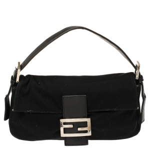 Fendi Black Stretchable Jersey and Leather Mama Baguette Bag