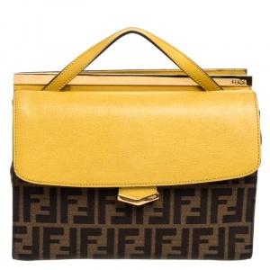 """حقيبة فندي """"ديمي جور"""" صغيرة يد علوية جلد و كانفاس زوكا أصفر و بني"""