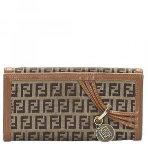 Fendi Brown Leather-trimmed Zucchino Canvas Wallet