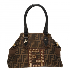Fendi Brown/Black Zucca Canvas and Nubuck Small Studded Chef De Jour Bag