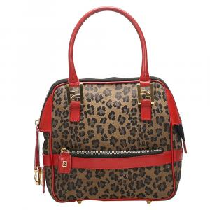 Fendi Brown/Red Leopard Print Nylon Satchel