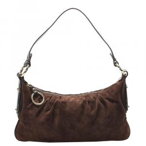 Fendi Brown Suede Shoulder Bag