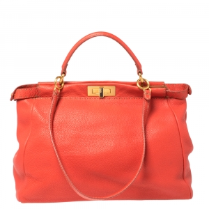 Fendi Coral Orange Selleria Leather Large Peekaboo Top Handle Bag