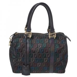 Fendi Multicolor Zucchino Canvas and Leather Small Forever Bauletto Boston Bag