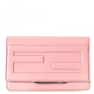 Fendi Pink Leather Tube Wallet on Chain Bag
