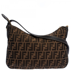 Fendi Tobacco Zucca Canvas and Leather Crossbody Bag