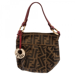 Fendi Tobacco Zucca Canvas and Leather Mini Chef Bag