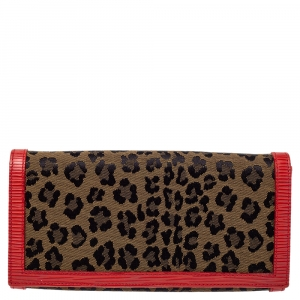 Fendi Brown/Red Leopard Print Canvas and Leather Continental Wallet