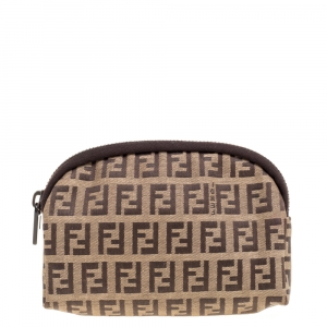 Fendi Beige/Brown Zucchino Canvas Pouch