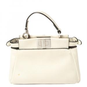 Fendi Off White Leather Micro Peekaboo Crossbody Bag