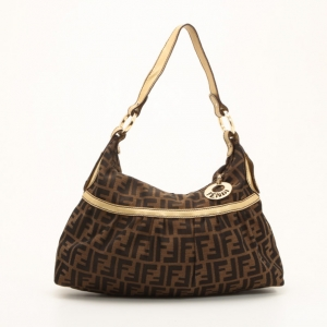 Fendi Zucca Chef Hobo with Metallic Leather Trim