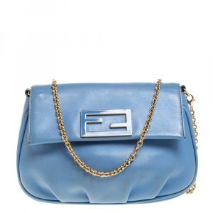 Fendi Blue Leather Fendista Chain Shoulder Bag