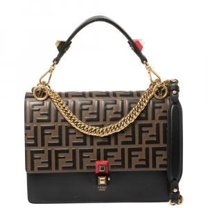 Fendi Black/Brown Zucca Embossed Leather Kan I Top Handle Bag