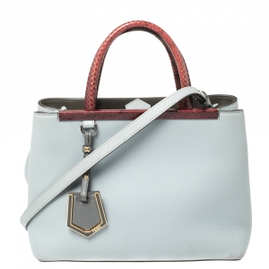 Fendi Grey/Red Leather and Snakeskin Mini 2Jours Tote