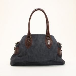 Fendi Denim & Brown Leather Bag Du Jour