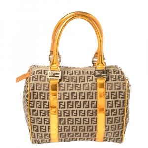 Fendi Beige/Metallic Orange Zucchino Canvas and Patent Leather Small Forever Bauletto Boston Bag