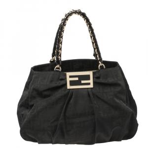Fendi Black Zucca Canvas and Patent Leather Large Mia Shoulder Bag