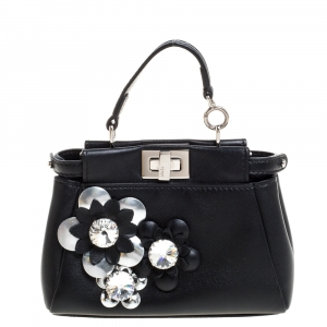 Fendi Black Floral Embellished Leather Micro Peekaboo Crossbody Bag