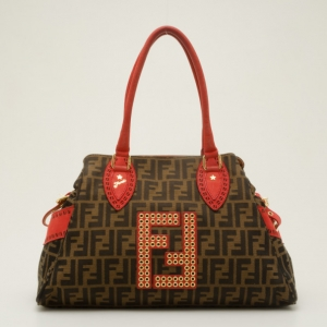 Fendi Red Trim Studded Zucca Du Jour Handbag
