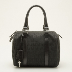 Fendi Black Zucchino Spalmati Boston Satchel