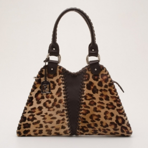 Fendi Pony Hair Leopard 'Devil Trapezio' Satchel