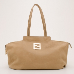 Fendi Tan Leather Logo Tote