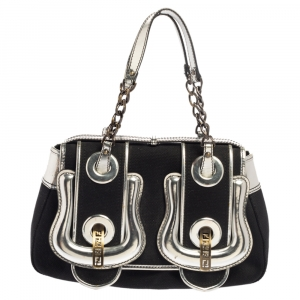 Fendi Black/Silver Canvas and Patent Leather B Bis Shoulder Bag