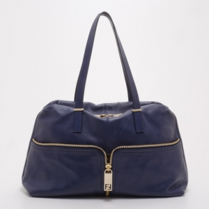 Fendi Blue Leather Zip Front Pocket Satchel