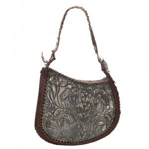 Fendi Brown Embossed Oyster Leather Shoulder Bag