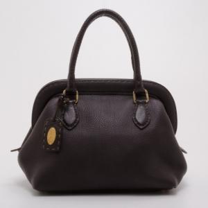 Fendi Brown Leather Selleria Framed Satchel Handbag