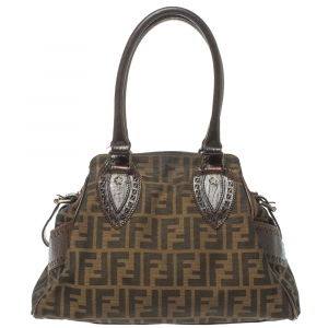 Fendi Tobacco Zucca Canvas and Leather Small Chef De Jour Bag