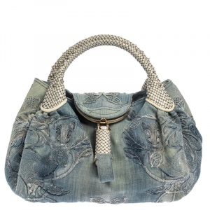 Fendi Light Blue Denim Embroidered Squirrel Spy Bag
