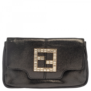 Fendi Grey Shimmer Leather Crystal Embellished Logo Flap Clutch