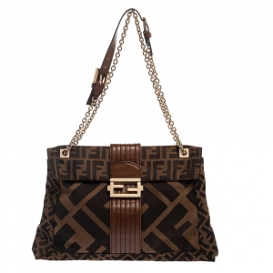 Fendi Tobacco Zucca Canvas and Leather Maxi Baguette Flap Shoulder Bag