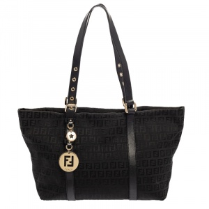 Fendi Black Zucchino Canvas and Leather Superstar Shopper Tote