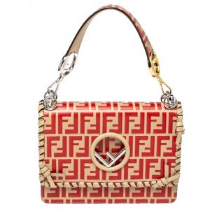 Fendi Beige/Red Zucca Leather Small Whipstitched Kan I F Shoulder Bag