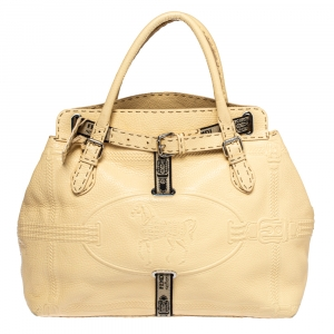 Fendi Cream Leather Villa Selleria Borghese Tote