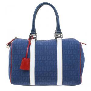 Fendi Blue Zucchino Canvas Forever Bauletto Boston Bag