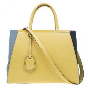 Fendi Yellow Two Tone Saffiano Leather 2Jours Tote