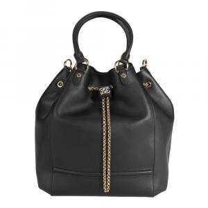 Fendi Black Vitello Leather Karligraphy Chain Bucket Bag
