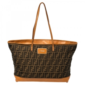 Fendi Brown/Orange Zucca Canvas And Leather Roll Tote