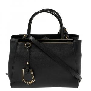 Fendi Black Leather Petite Sac 2jours Tote