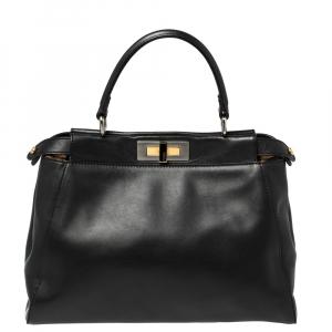 Fendi Black Leather and Calf Hair Lining Medium Peekaboo Top Handle Bag