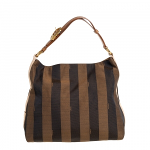 Fendi Tobacco Canvas and Leather Medium Pequin Striped Hobo