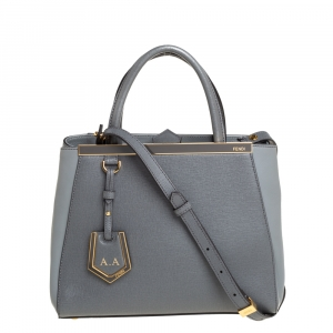 Fendi Grey Leather Small 2Jours Tote