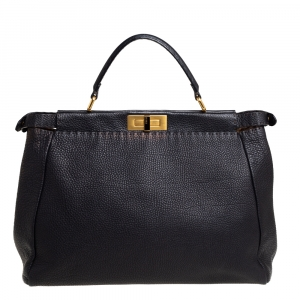 Fendi Black Selleria Leather Large Peekaboo Top Handle Bag