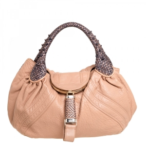 Fendi Beige Leather Spy Hobo