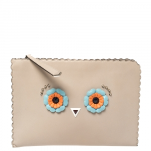 Fendi Beige Leather Hypnoteyes Clutch