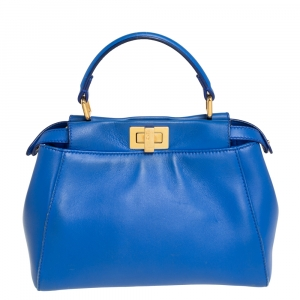 Fendi Blue Leather Mini Peekaboo Top Handle Bag