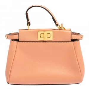 Fendi Peach Leather Micro Peekaboo Crossbody Bag